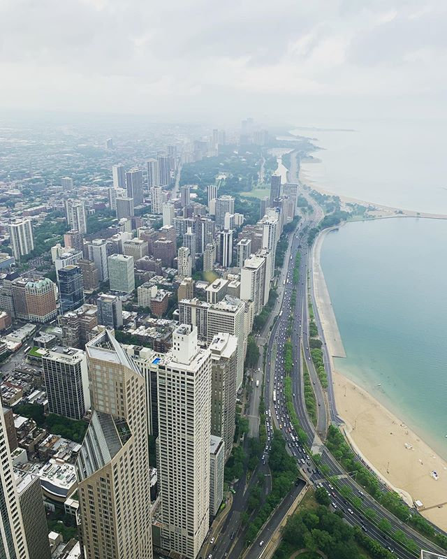 View to the north from the John Hancock observation deck. Turns out Chicago has beaches. #pride #represent
