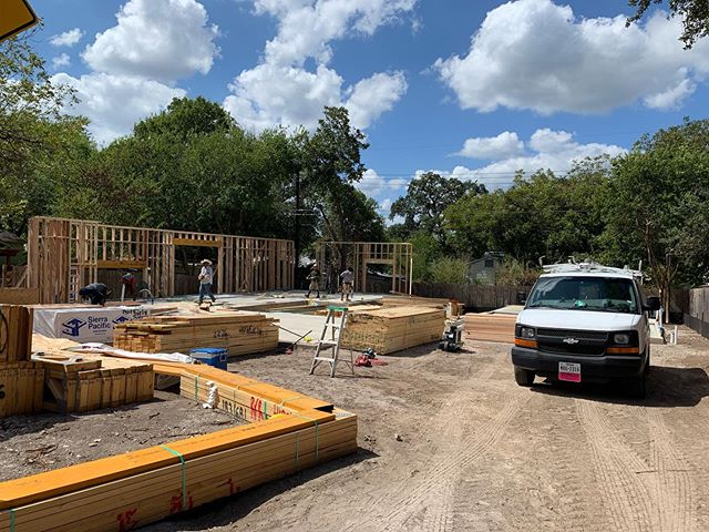Slab in the ground, it's a great day to start framing on this south Austin home and ADU. It's getting exciting!