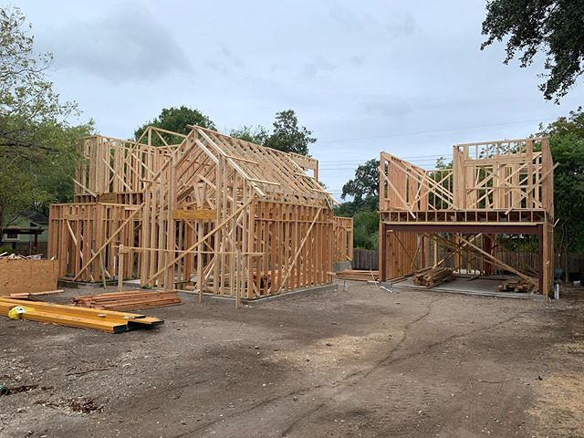 Vaulted trusses up, space starting to take shape