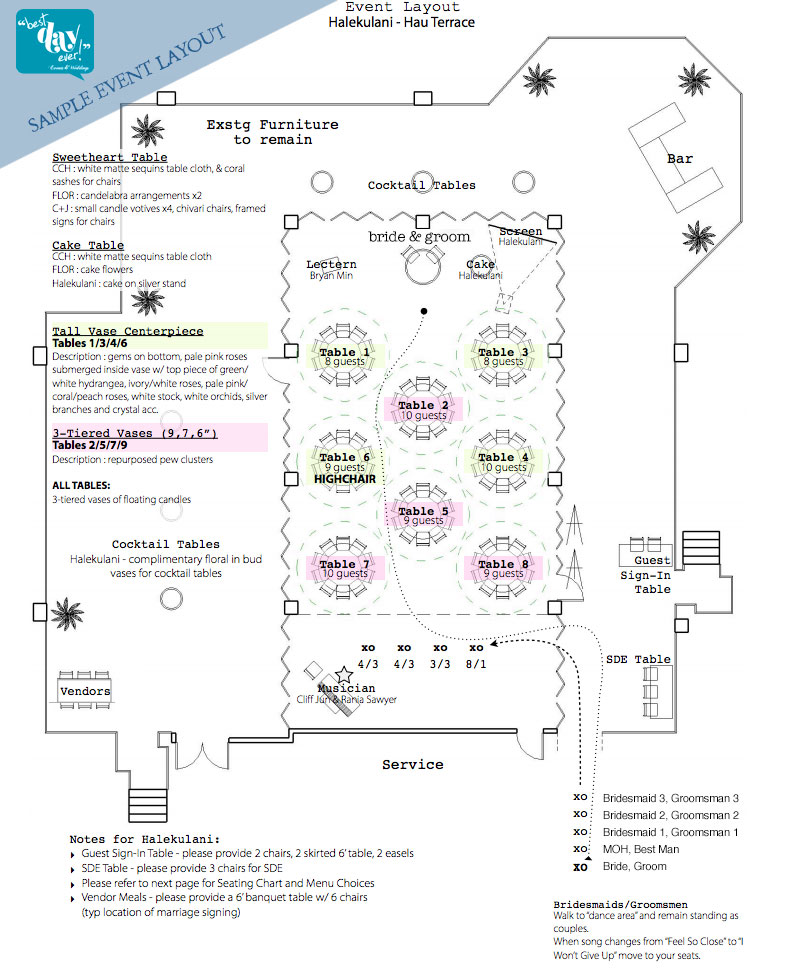 * Please note, each venue is different, we will create a detailed event layout to scale to fit your details and needs.