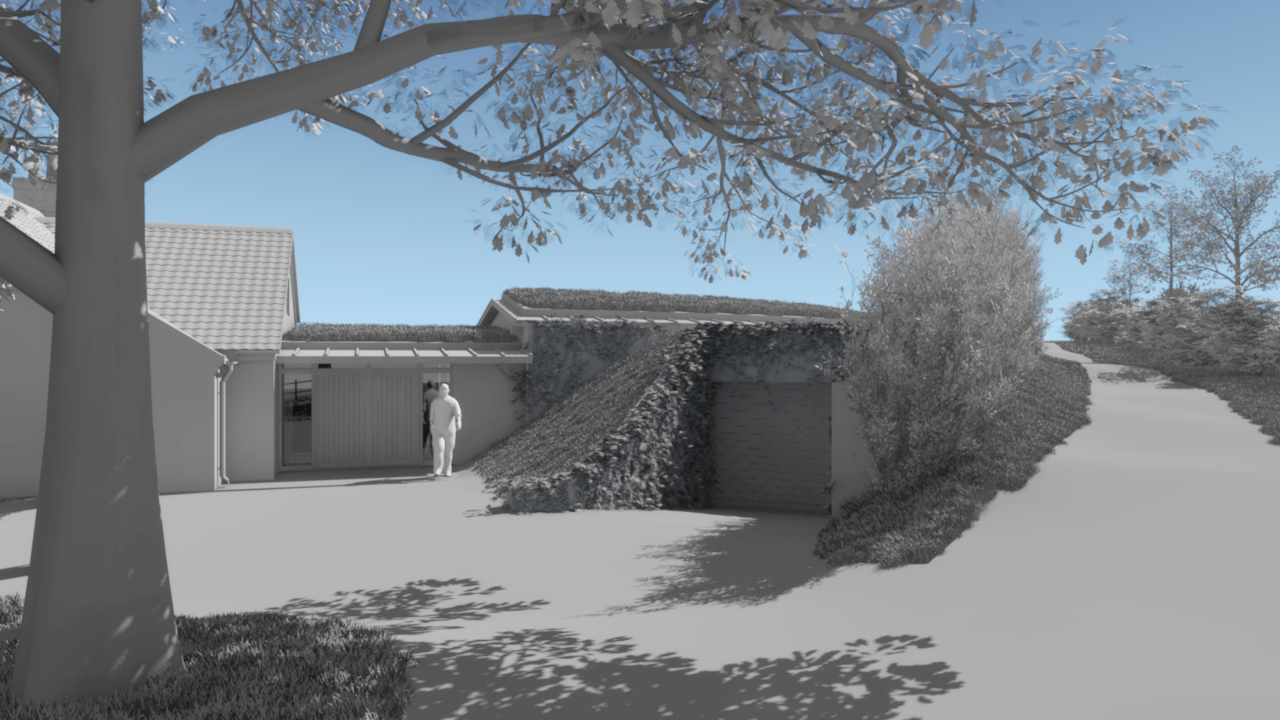 Digital images, produced by Rewind FX,as feasibility studies fora proposed dwelling set within the landscape on Iken cliff.
