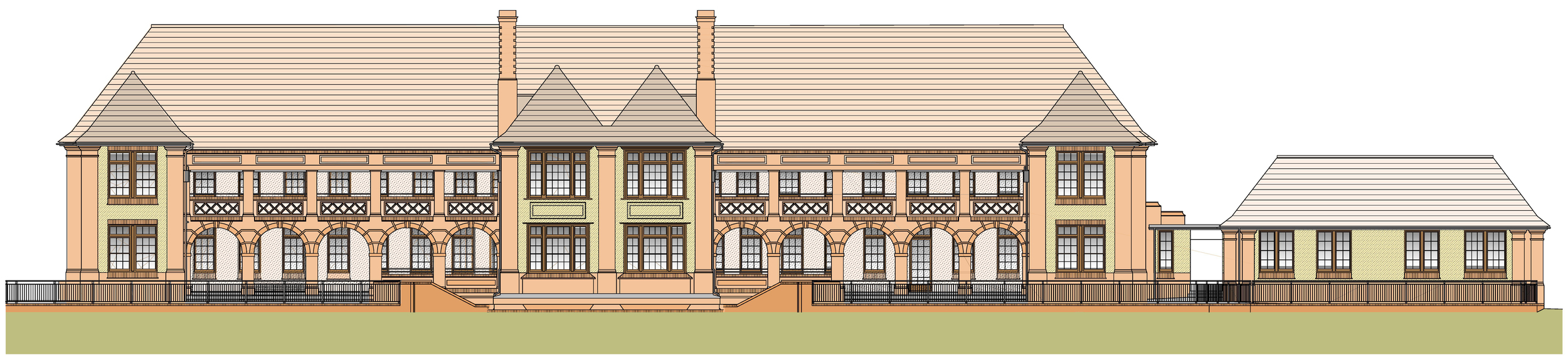 Architectural presentation drawing, showing the front elevation of the Bartlet and side annexe,as proposed prior to the redevelopment