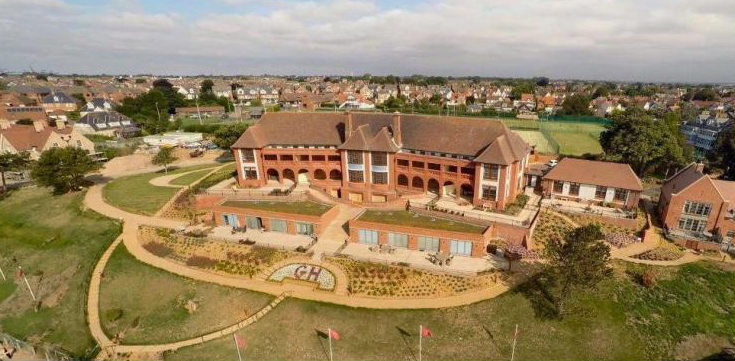 Front view of The Bartlet and its grounds - Aerial photography provided by Gipping Homes Ltd.