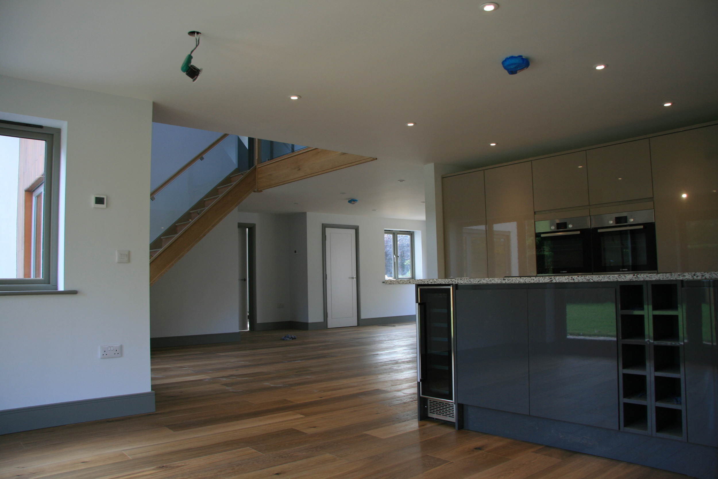 The property boasts a large open plan interior with contemporary fixtures and fittings.