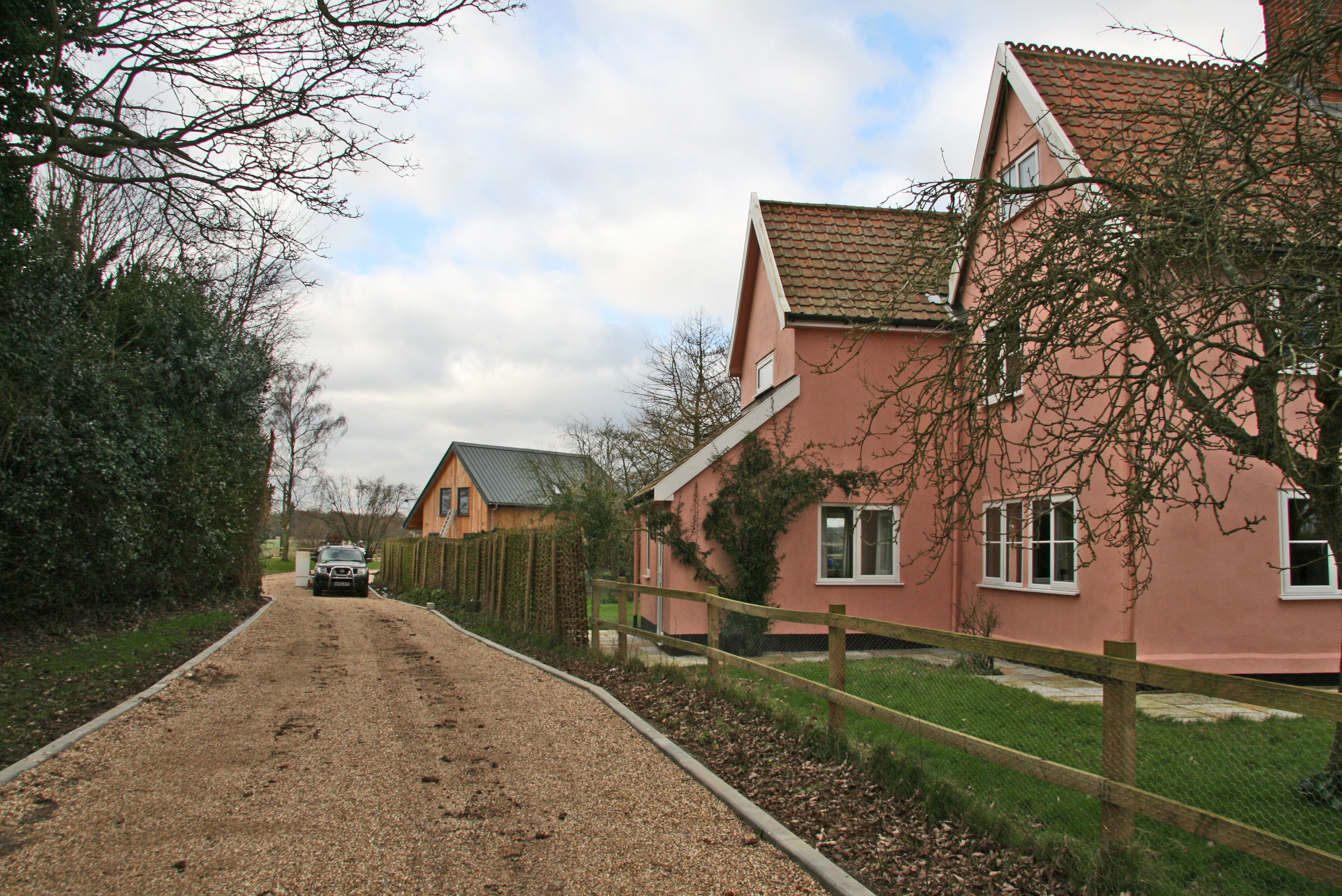 The project involved the segregation of a parcel of land within our clients land for the erection of a new dwelling for them to occupy. The host property, Church Farm House is of a traditional Suffolk Farmhouse aesthetic, which the new dwelling would have to respect in terms of its scale & aesthetic. Immediately South of the site is a grade I listed church building. The site is classified as 'Open Countryside'