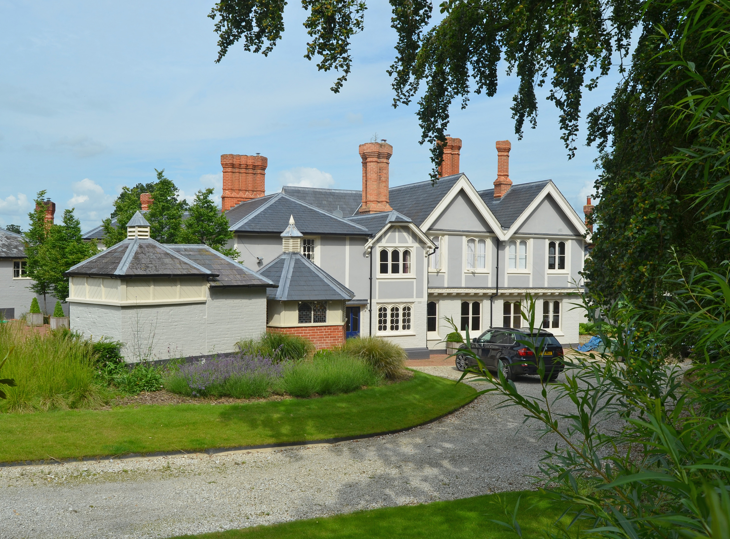 Extensive landscaping works were undertaken to enhance the setting of the listed building.