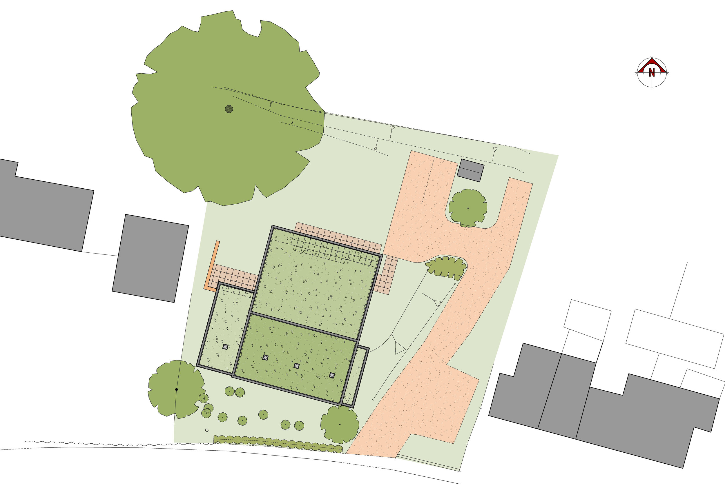A proposed house set within the landscape, 1 The Hill, Ousden achieved planning permission on a contentious site adjacent to a Grade II listed building. Due to the design concept of being constructed within the hillside, it would be hidden from view to minimise impact on the site and surroundings.