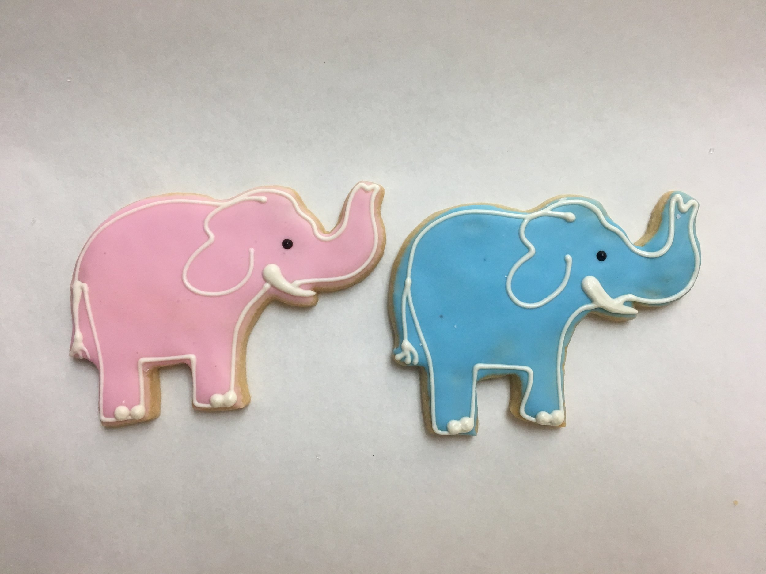 Baby Elephant, Pink and Blue