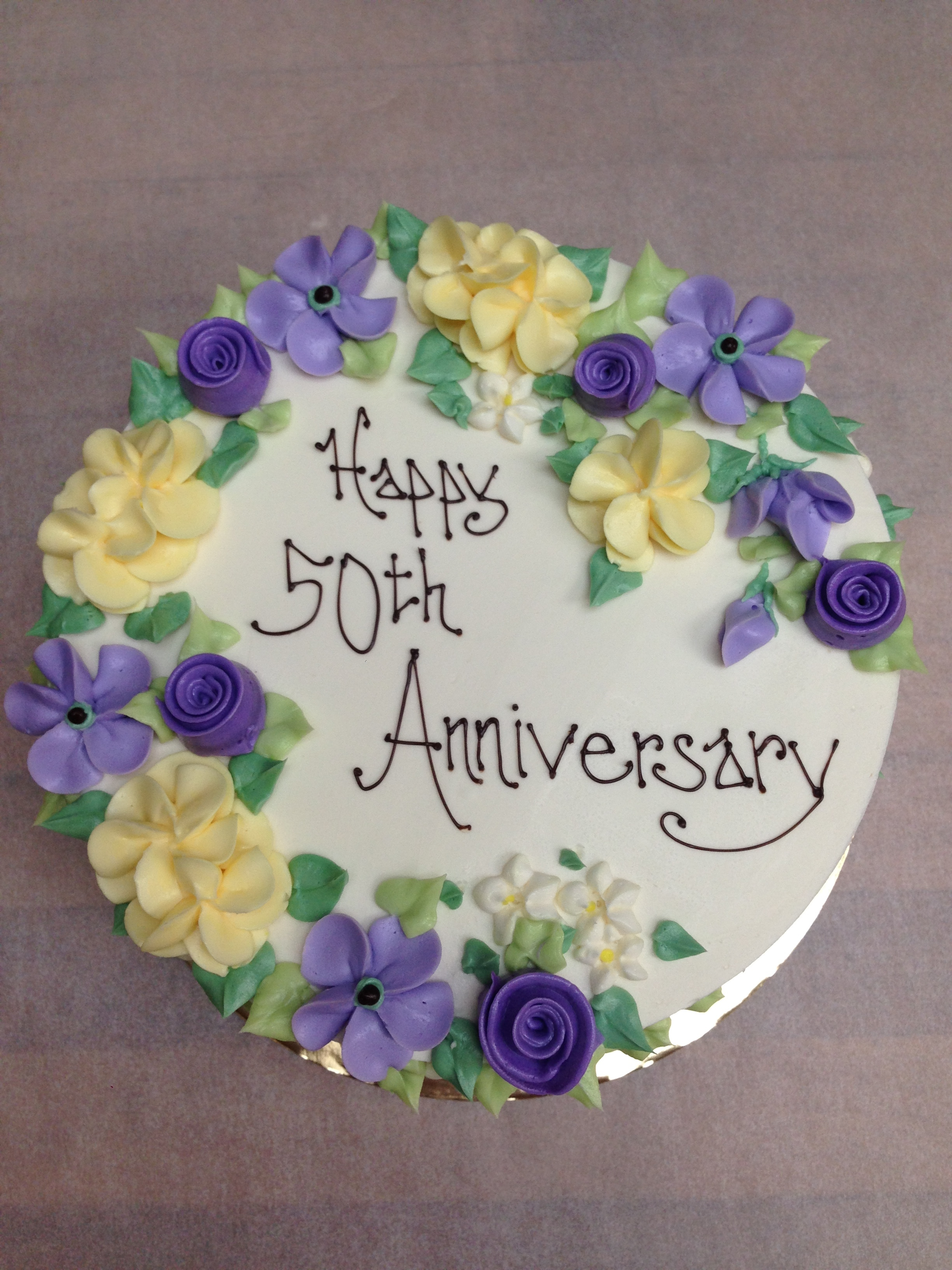 Floral Spray in purple and yellow | 50th anniversary