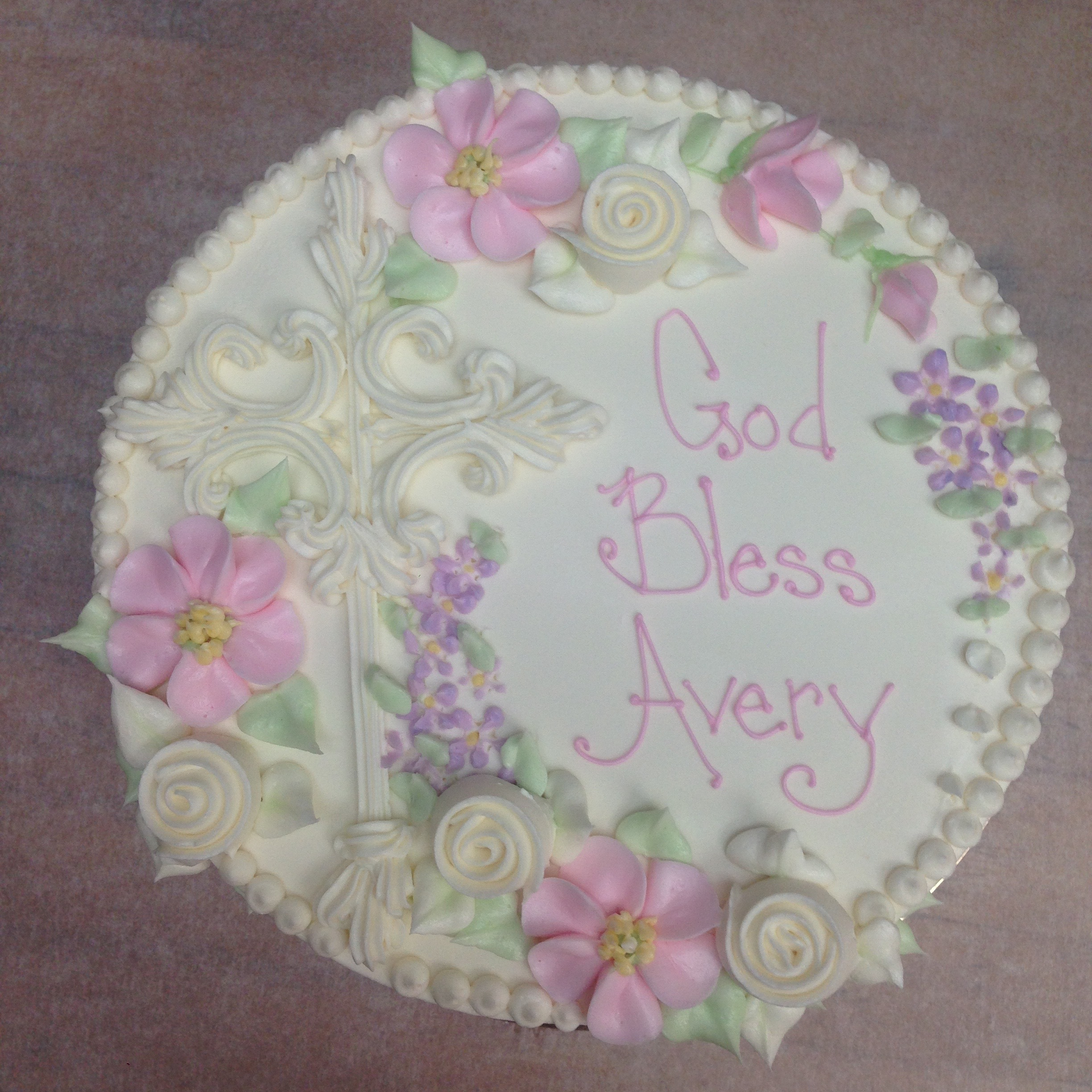 Buttercream Cross, Spin Roses and Daisies