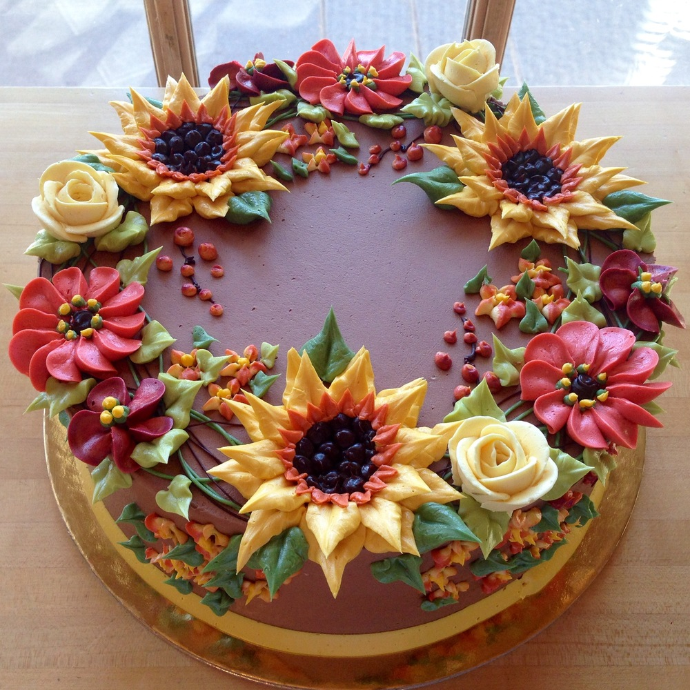 Summer Floral Wreath on Chocolate