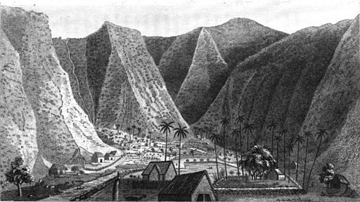 The Valley of Waipio from the Sand Hills on the Beach    Illustration from Missionary William Ellis' journal, from Ellis' tour through Hawaii from 1822 to 1823, published in 1827