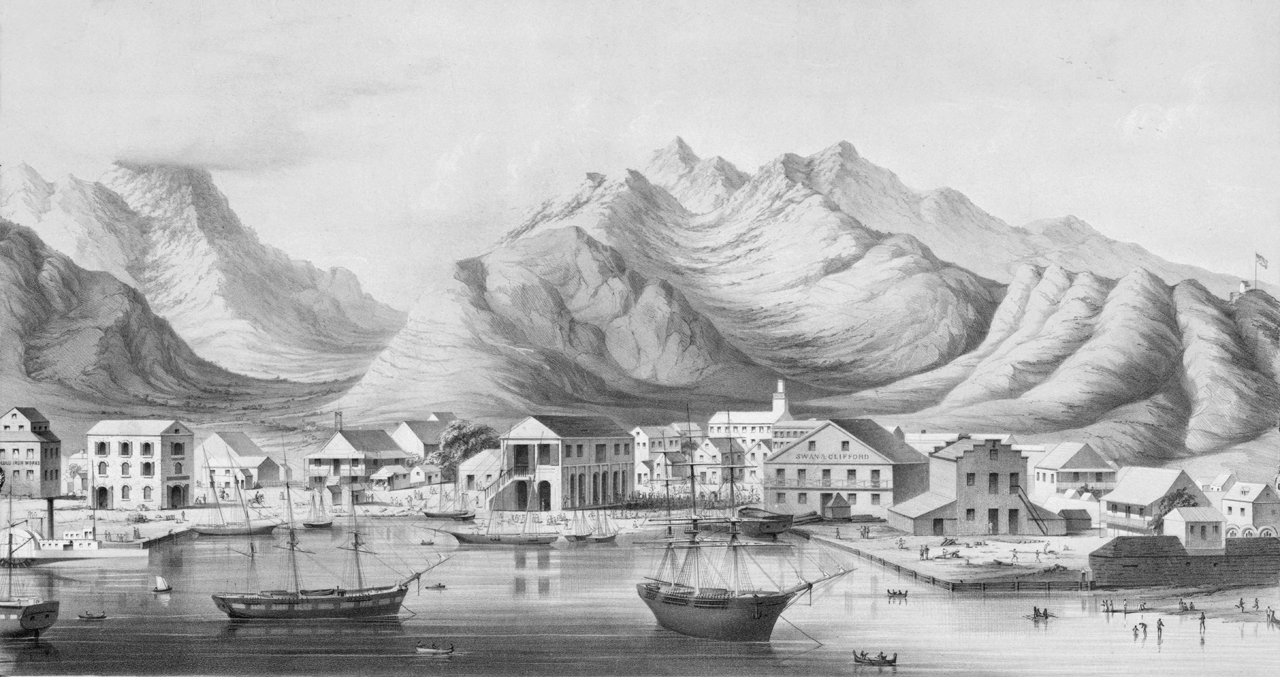 """View of Honolulu Harbor and Punchbowl Crater. (c. 1854)"" by Drawn on stone by G.H. Burgess. / Lith. of Britton & Rey. / Published by Paul Emmert."