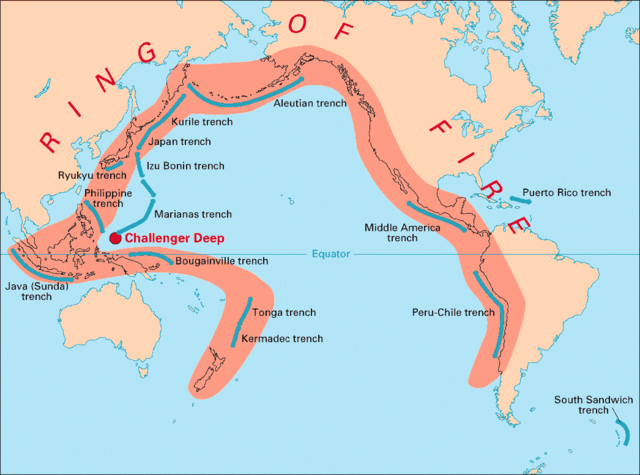 Pacific Ring of Fire Image by USGS