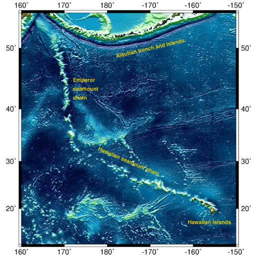 Hawaiian-Emperor Seamount Range By Ingo Wölbern (own work, created with GMT Software) [Public domain], via Wikimedia Commons