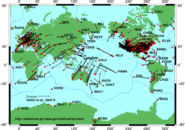Plate tectonic movements measured by GPS devices. Image by NASA