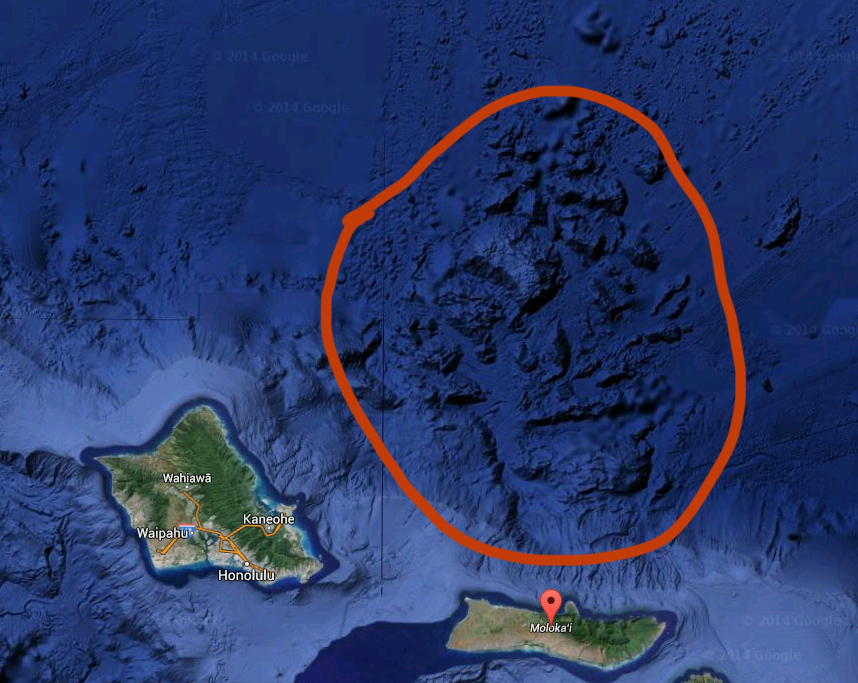 Debris field from Molokai and Oahu landslides. Image from Google Earth