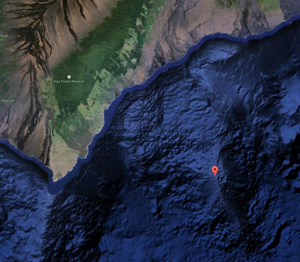 Location of Loihi Volcano. Image taken from Google Earth