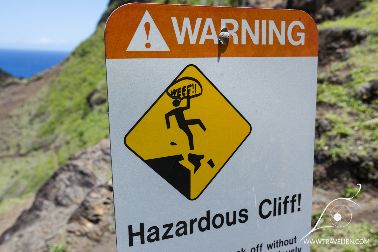 Somewhat funny sign informing of dangers on KalalauTrail