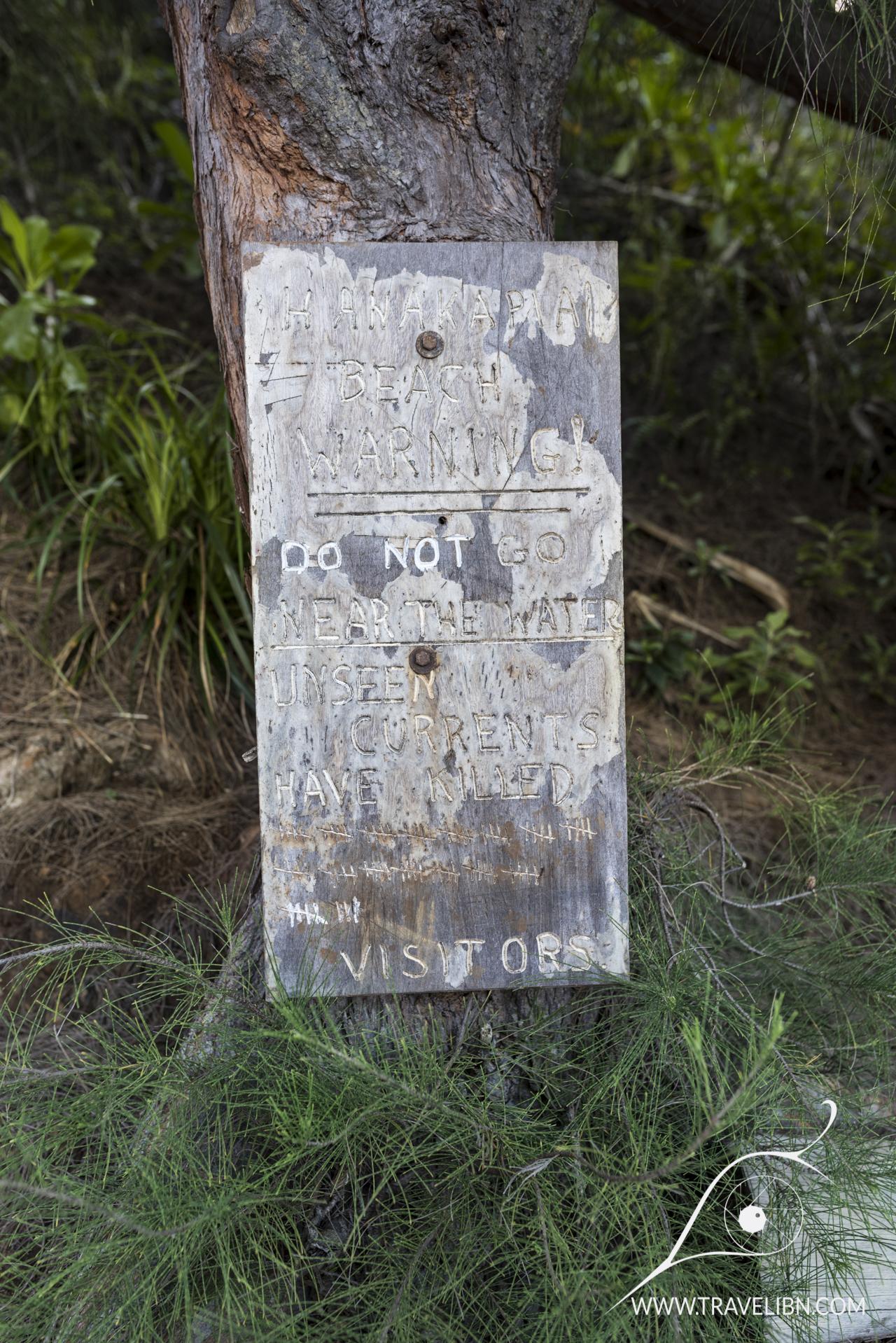 Hanakapi'ai warning sign
