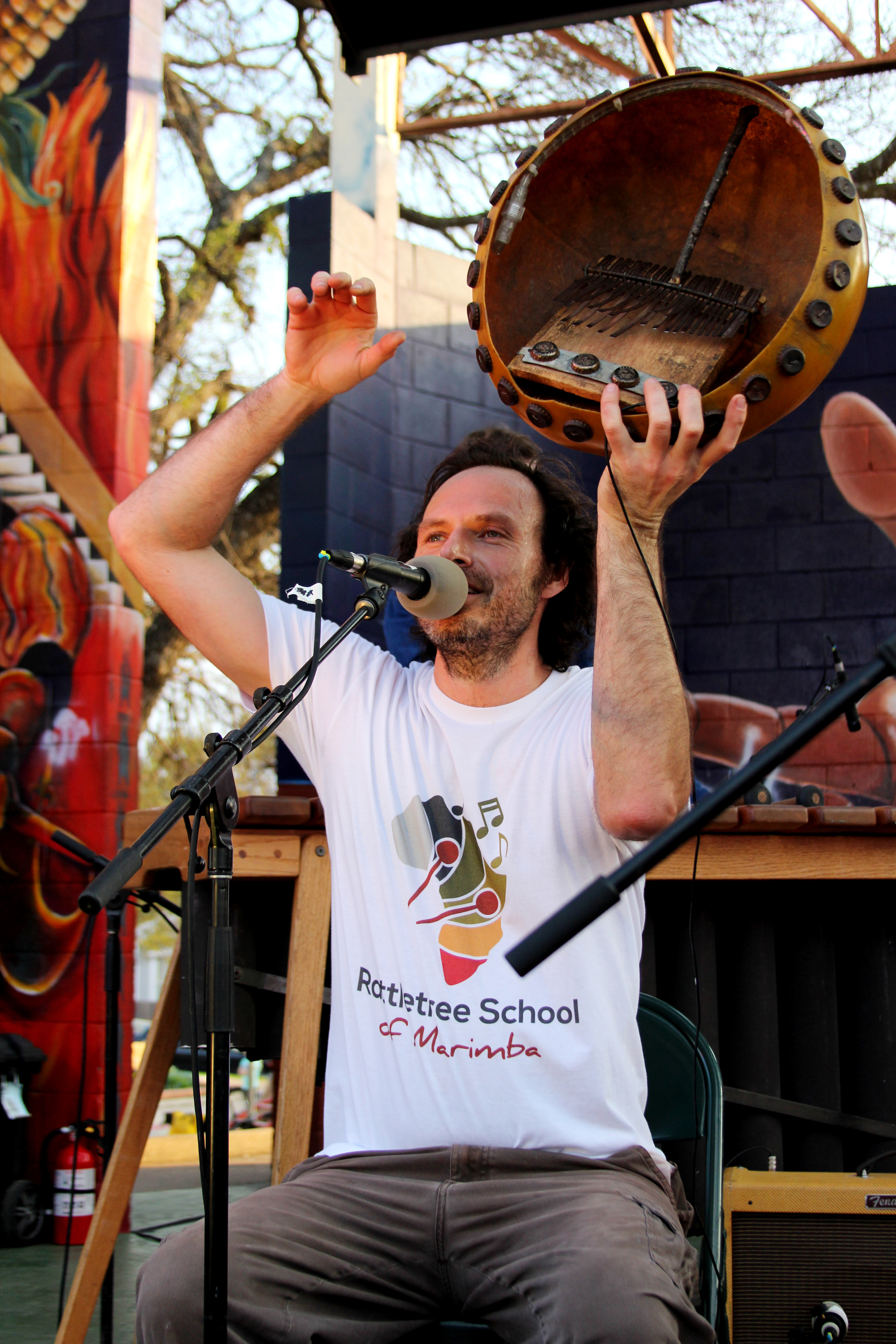 Joel Laviolette displays an authentic African instrument that he performs with at theOswaldo A. B. Cantu Pan American Recreation Center.    Photo by Tess Cagle