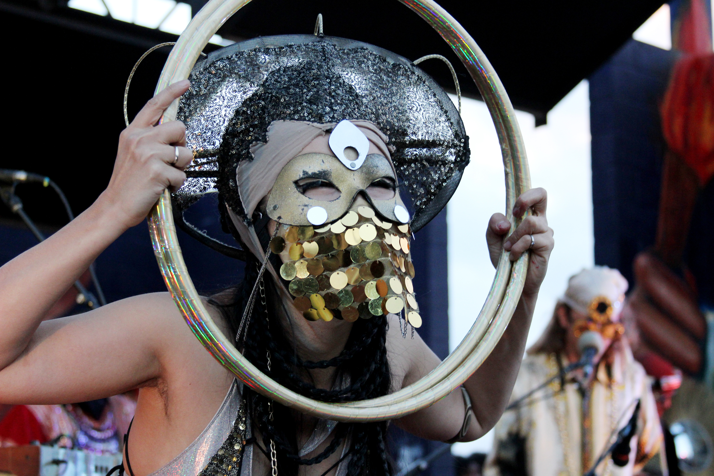 The Golden Dawn Arkestra performs at Pan Am Park during MapJam.   Photo by Tess Cagle