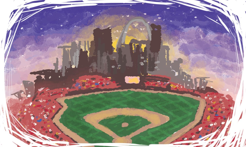 An illustration of Busch Stadium in St. Louis, Missouri.