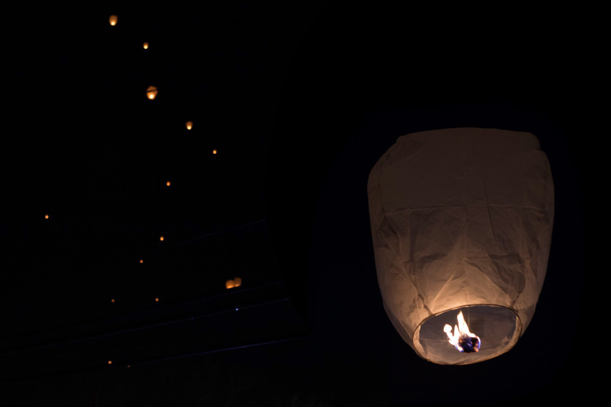 Paper lanterns lit up the sky in honor of Trayvon Martin.