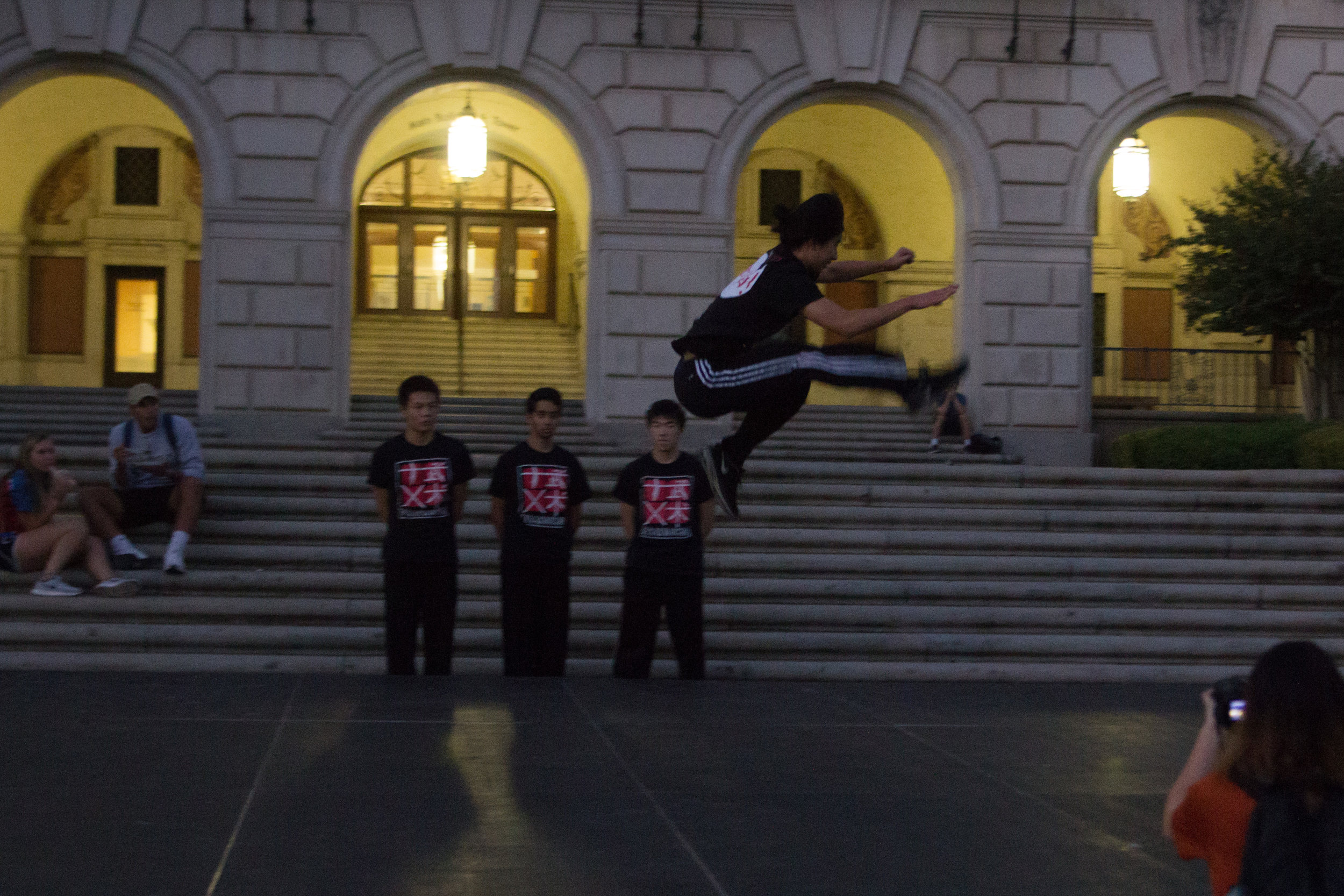 Members of Texas Wushu performing their routine for Try Culture.
