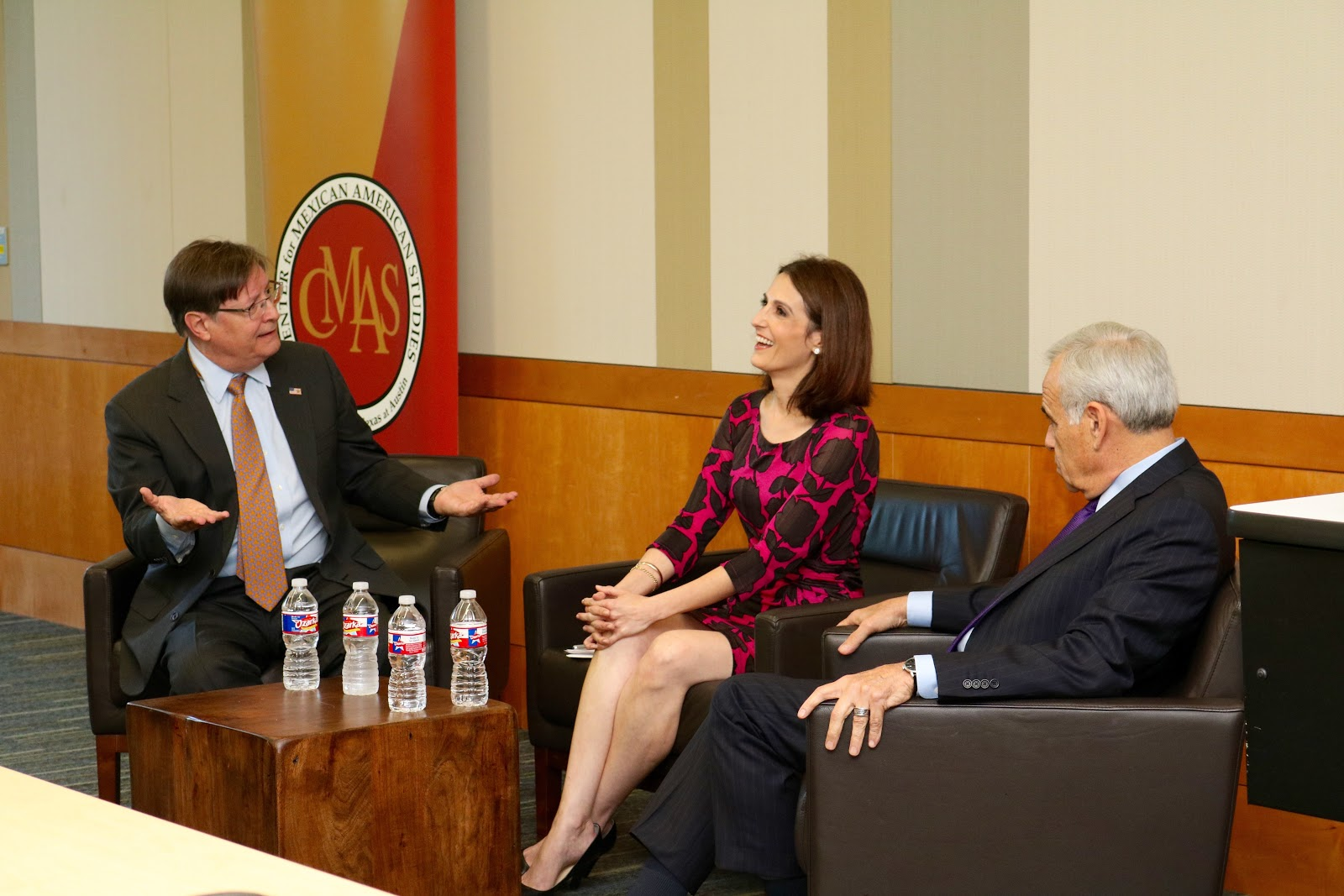 """Former U.S. congressman, Francisco """"Quico"""" Canseco (far left), political commentator for MSNBC, Victoria DeFrancesco Soto (middle) and former U.S. congressman, Charles Gonzalez (far right) discussing the Latino vote in the 2016 election."""