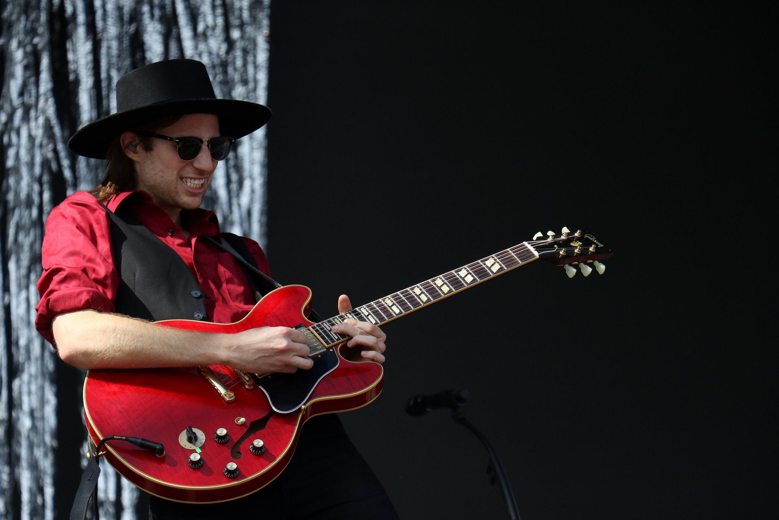 A/J Jackson, frontman of Saint Motel, takes a guitar solo.