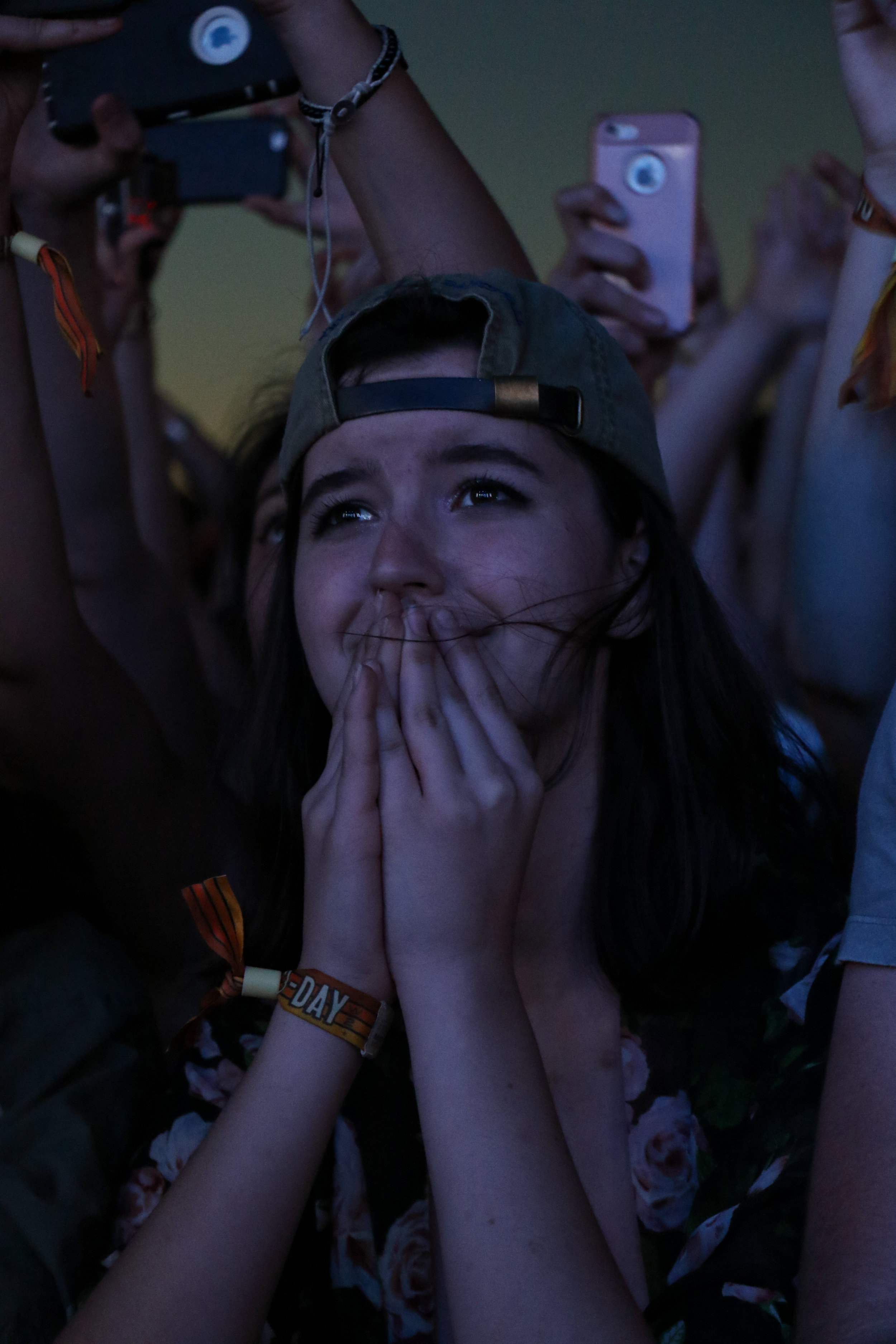 A fan is caught in an emotional moment during Two Door Cinema Club's set.