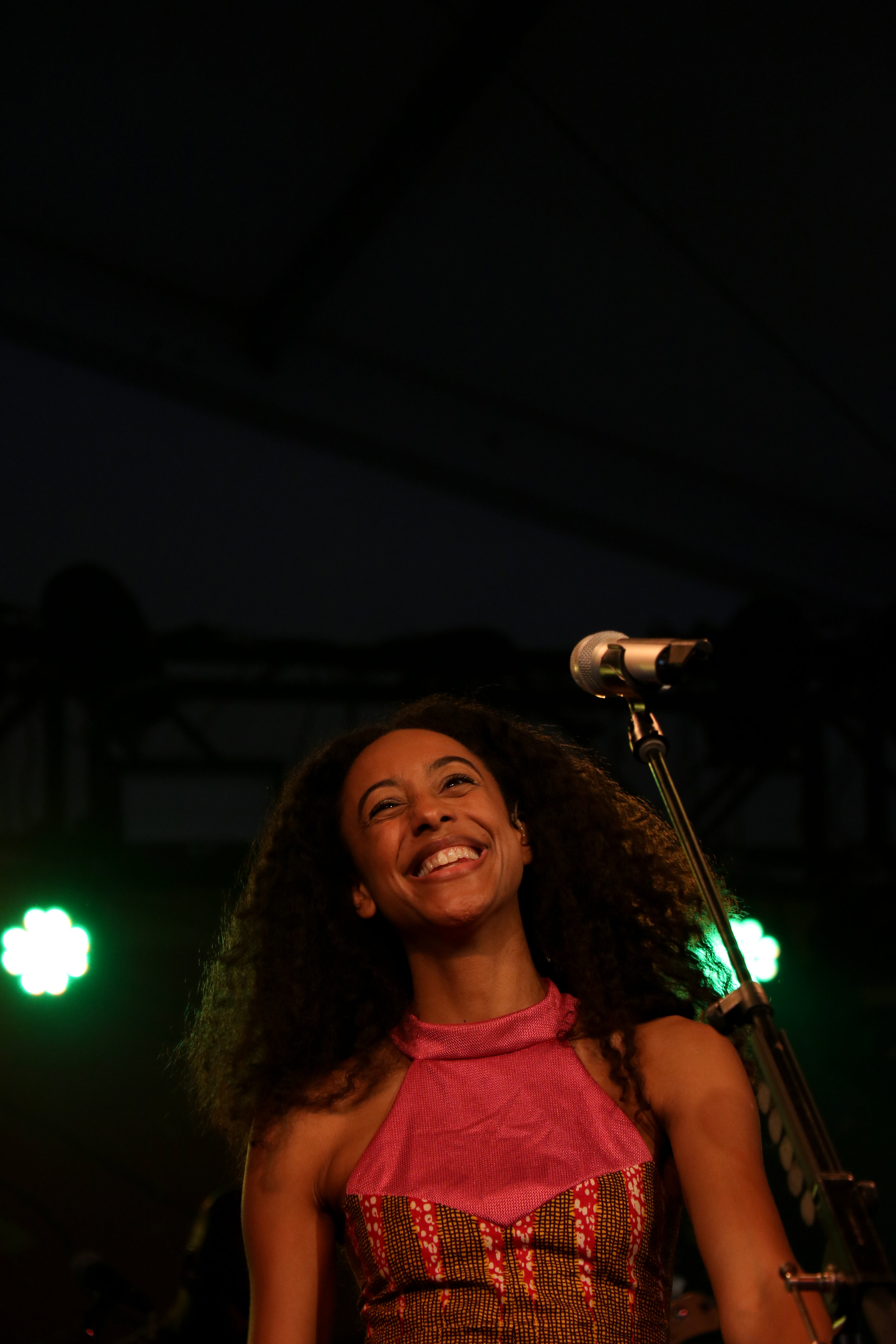 Corinne Bailey Rae smiles as the crowd applauds at the end of her number.