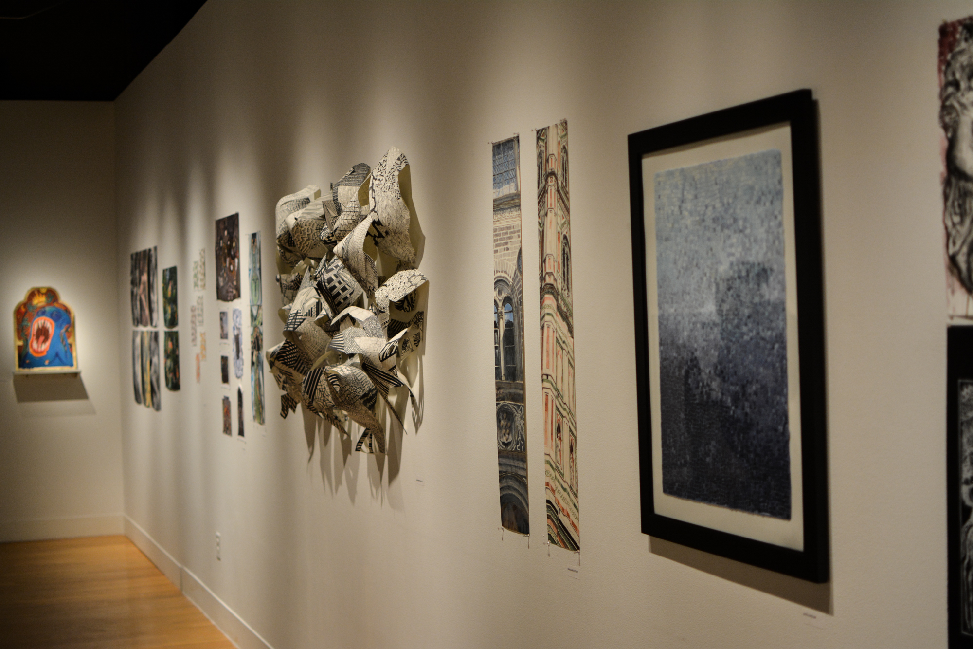 Art pieces created by students in the Department of Art and Art History's study abroad program were proudly displayed to the public in the Visual Art Center on campus.