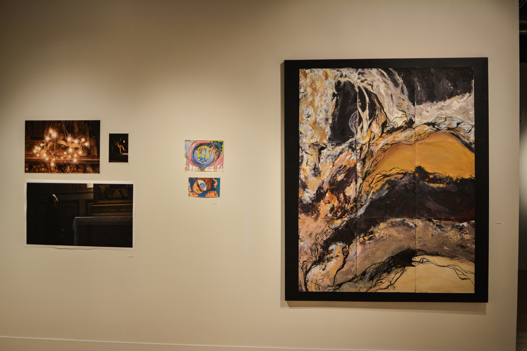 The pieces displayed in the Study Abroad Art Show in the Visual Art Center vary in size and material.