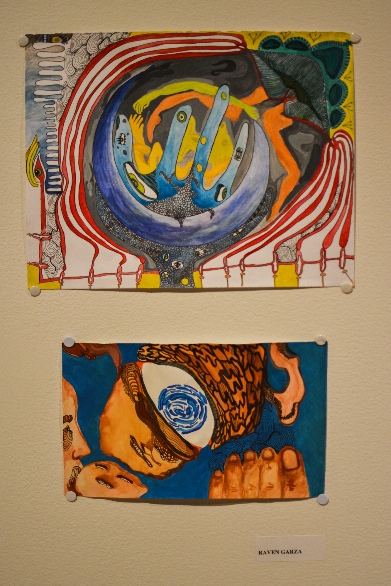Two art pieces made by by Raven Garza.