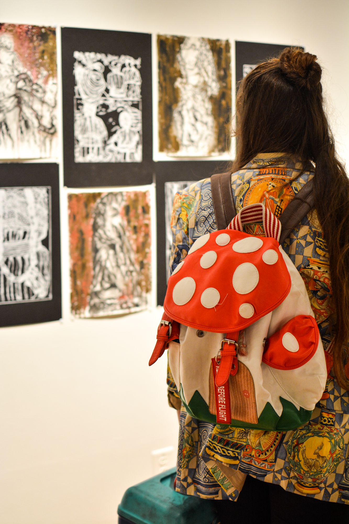Visitors attended the Study Abroad Art Show in the Visual Art Center.