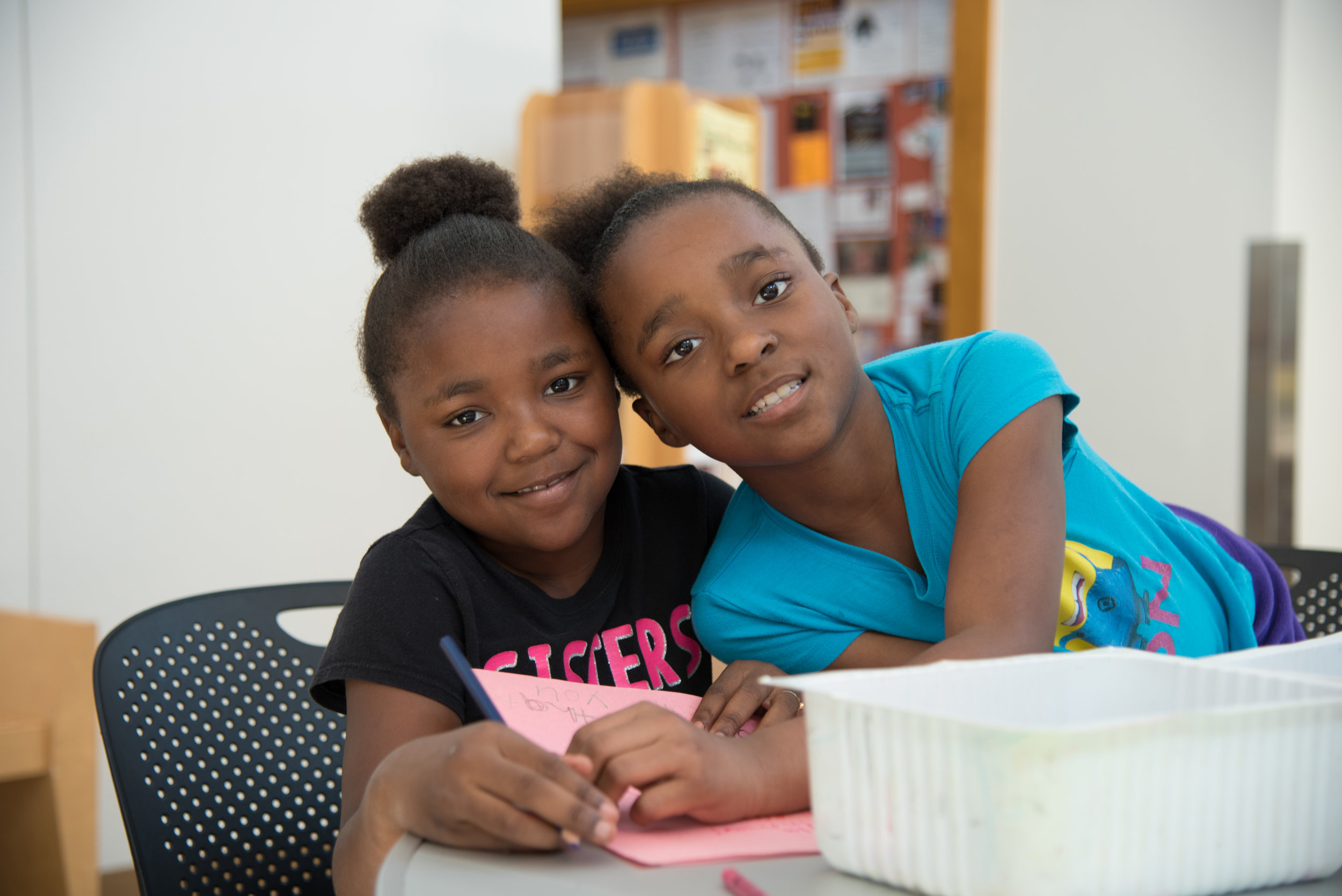 """Left to right: Mackenzie, Mckayla  """"I'm excited about learning how to play drums,"""" says Mckayla, age 7. Her friend, Mackenzie, shyly agrees."""