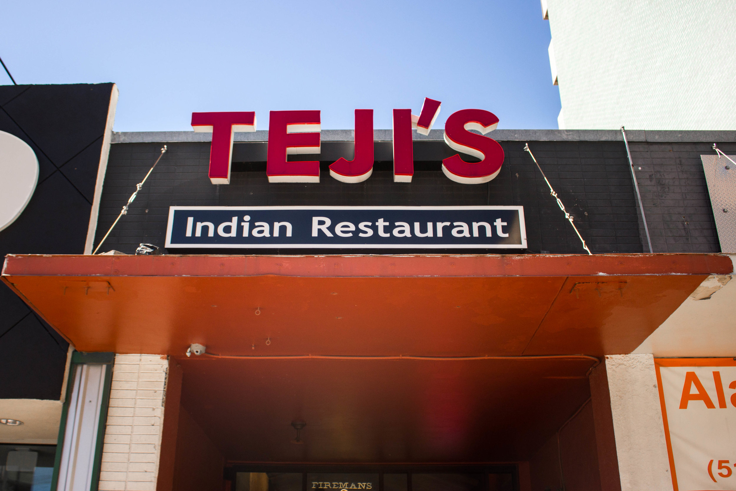 Teji's Indian Restaurant is located at the corner of 21st St. and Guadalupe St.