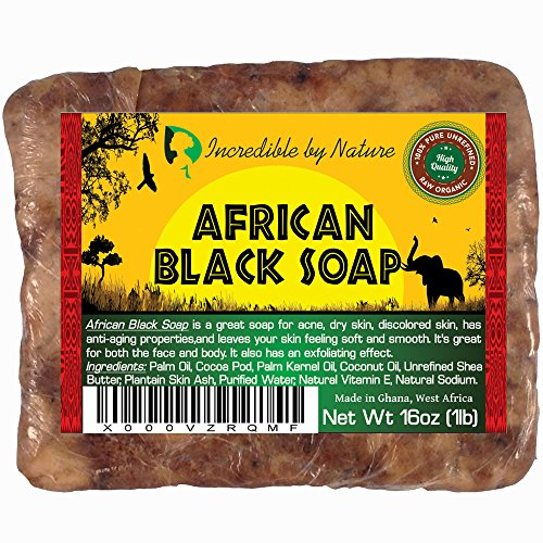 Raw African Black Soap - Ancient women from Ghana, Nigeria and other neighboring countries traditionally made African black soap using natural ingredients such as plantain, cocoa pods, palm tree leaves and shea tree bark. It is best used by breaking off small bits or diluting it with water to create a liquid version. In addition to its abundance of antioxidants, African black soap provides exfoliating properties that remove dead skin cells to rejuvenate your skin.