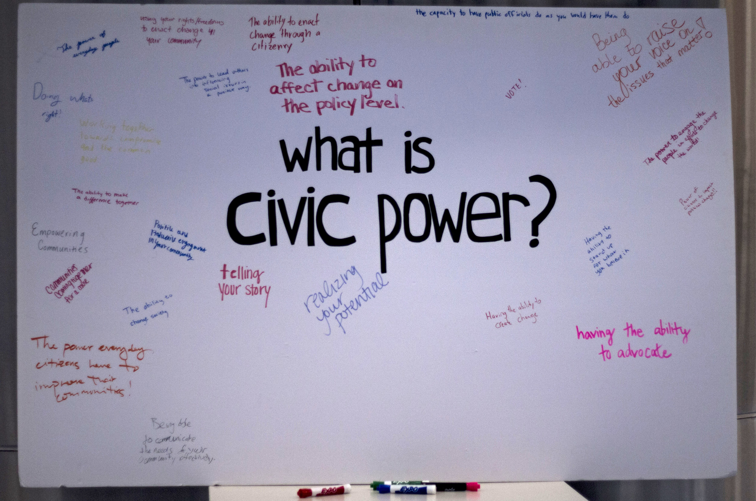 Throughout the event participants were able to answer what civic power meant to them.