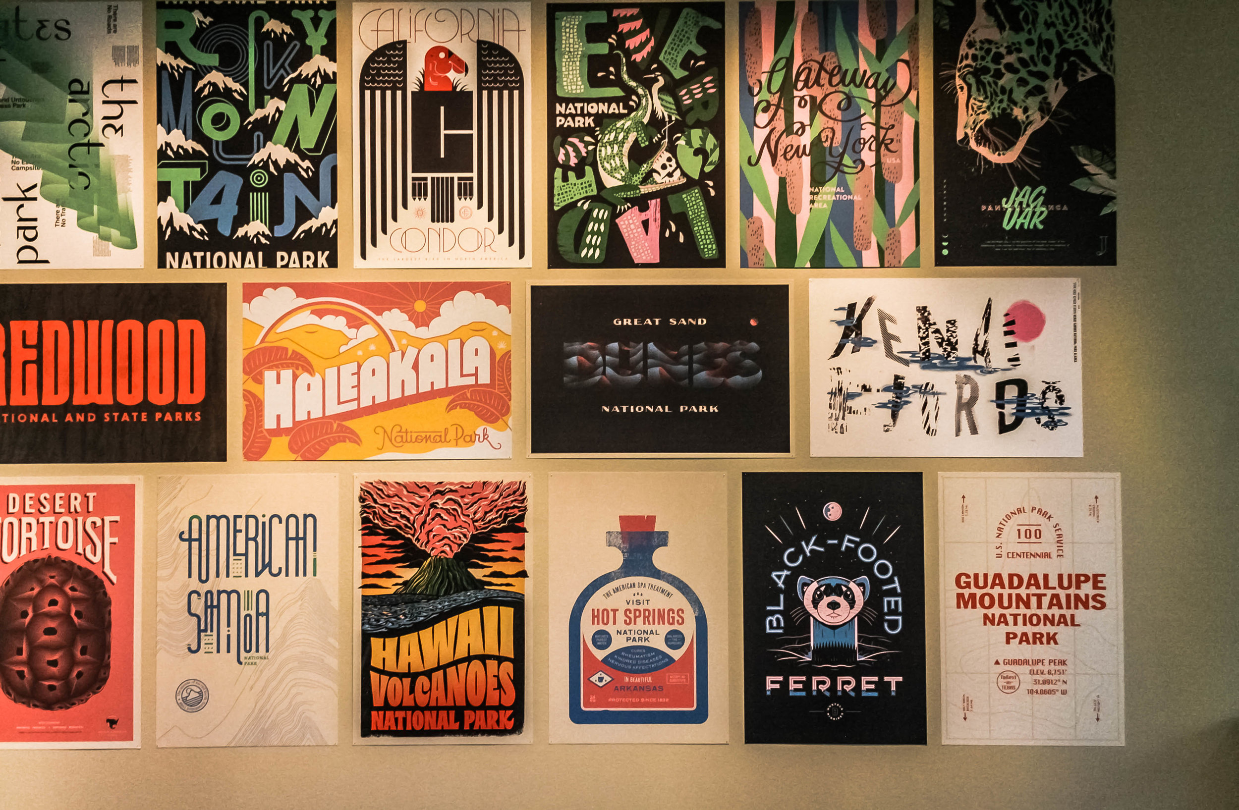The California Condor poster was created by Austin-based designer and illustrator Steve Wolf. (upper row, middle)
