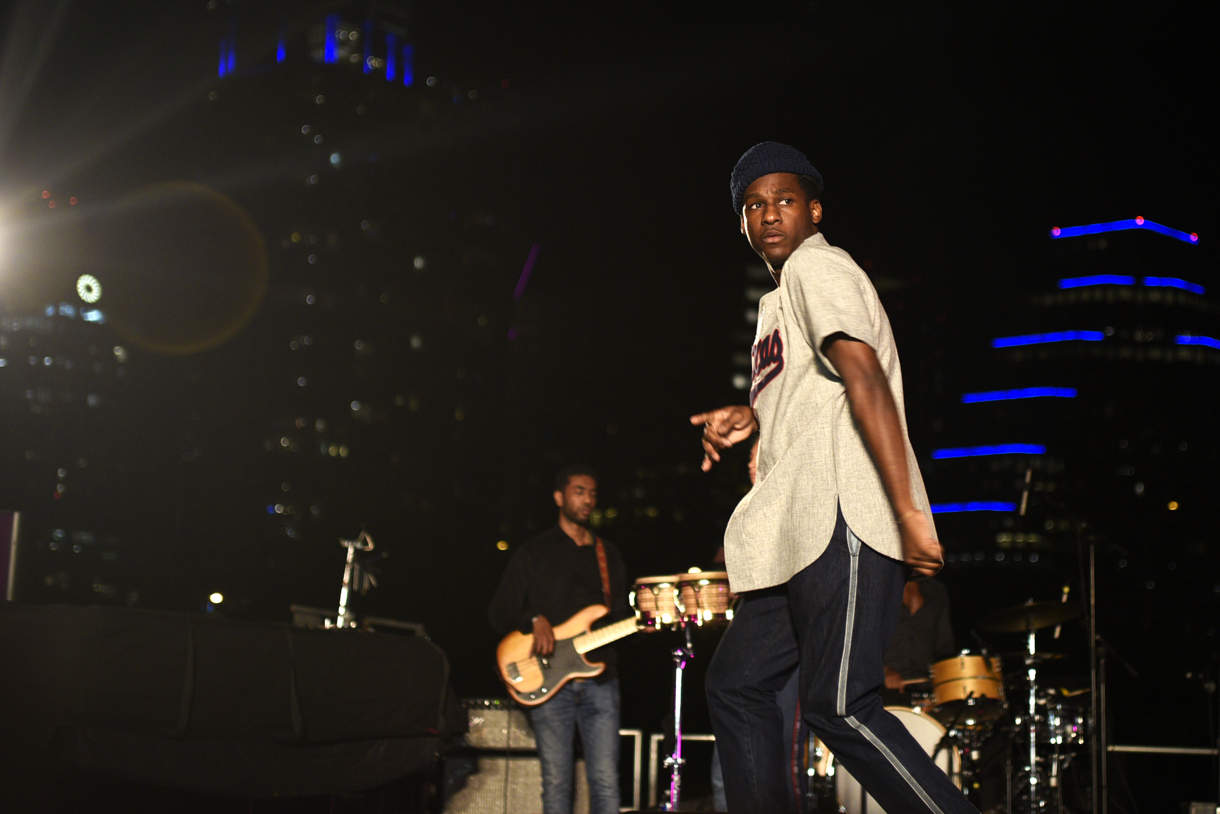 """Texas native, Leon Bridges opens the set with """"Smooth Sailing""""."""
