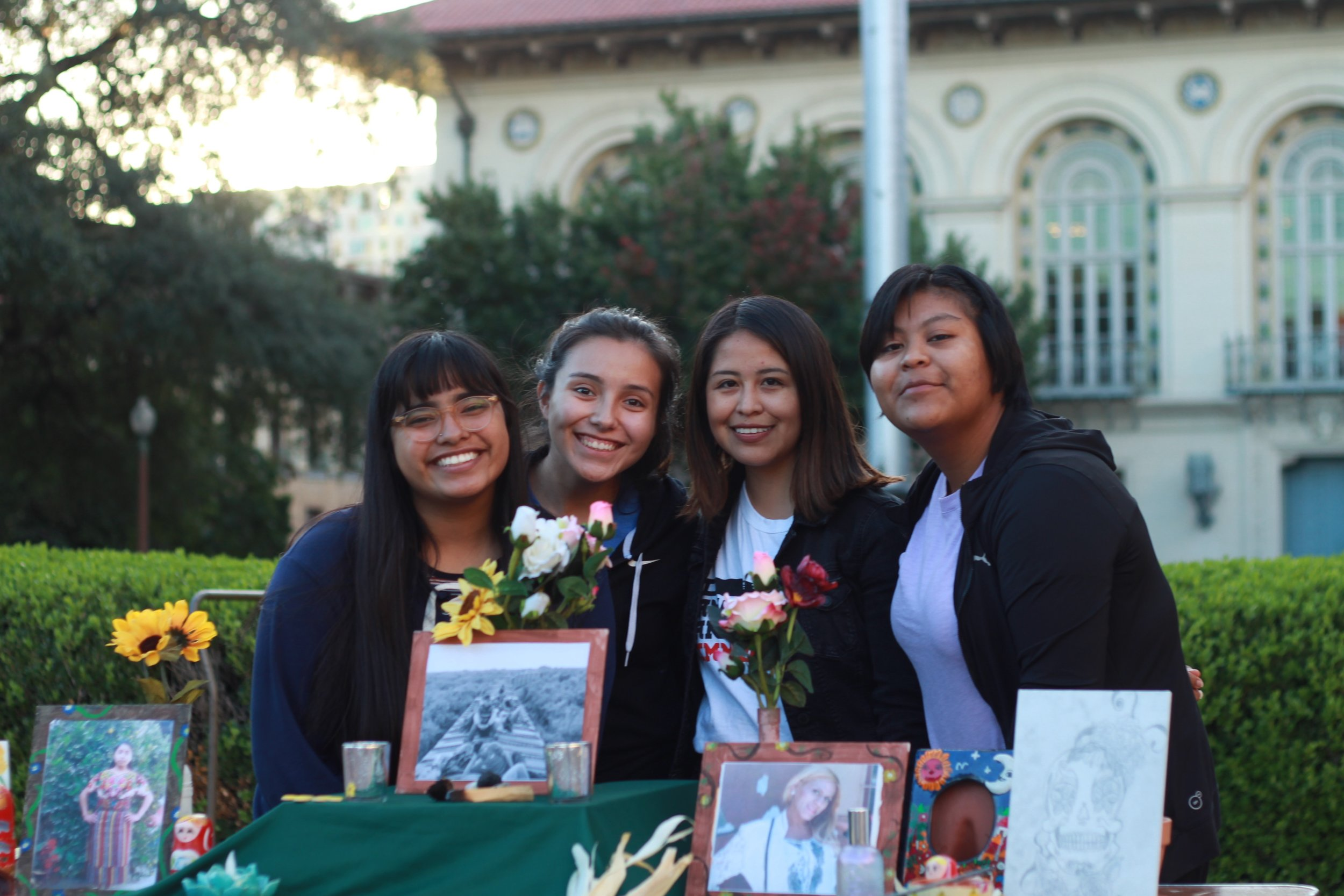 Maria Jose De La Cruz, Mariana Monroy, Vanessa Rodriguez, and Diana Feliciano pay their respects to those who have lost their lives at the hands of racial and sexual oppression.
