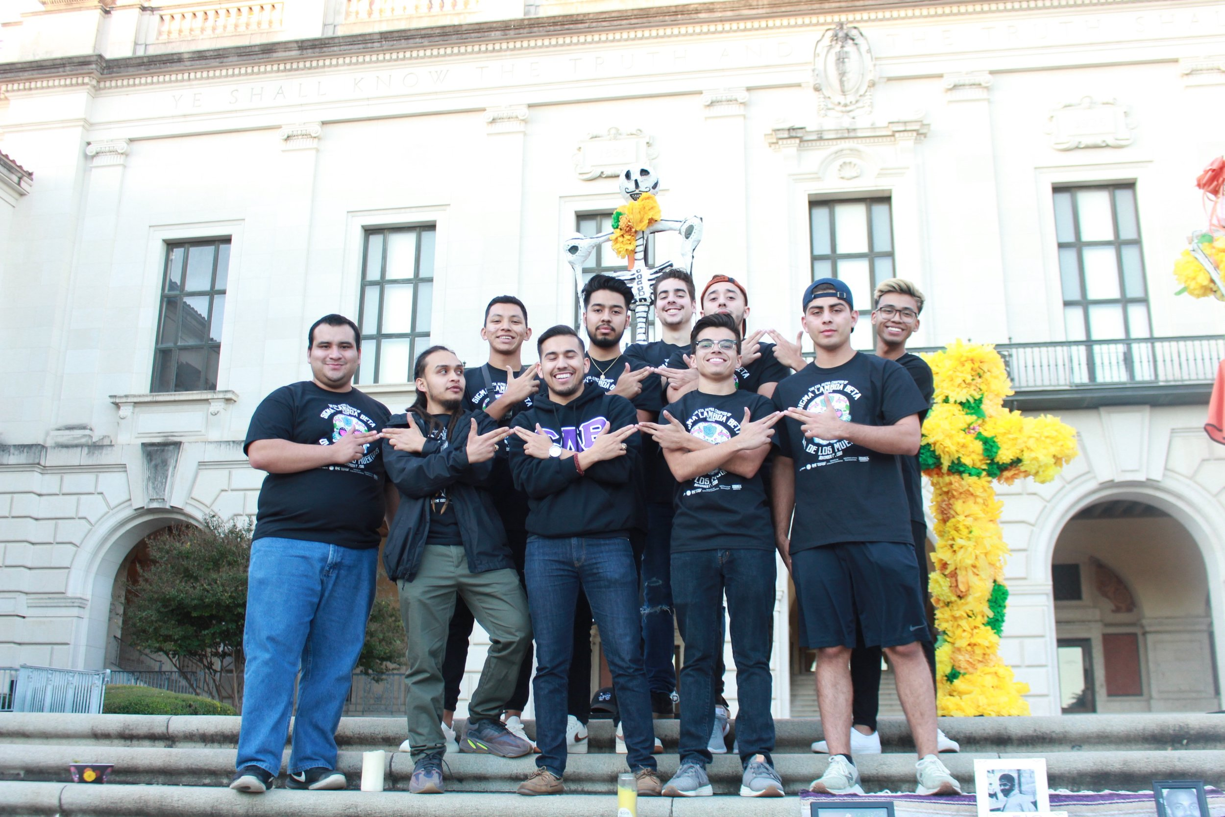 Members of Sigma Lamba Beta, the largest Latinx fraternity chapter in the nation, organized an on-campus Día de Los Muertos celebration.