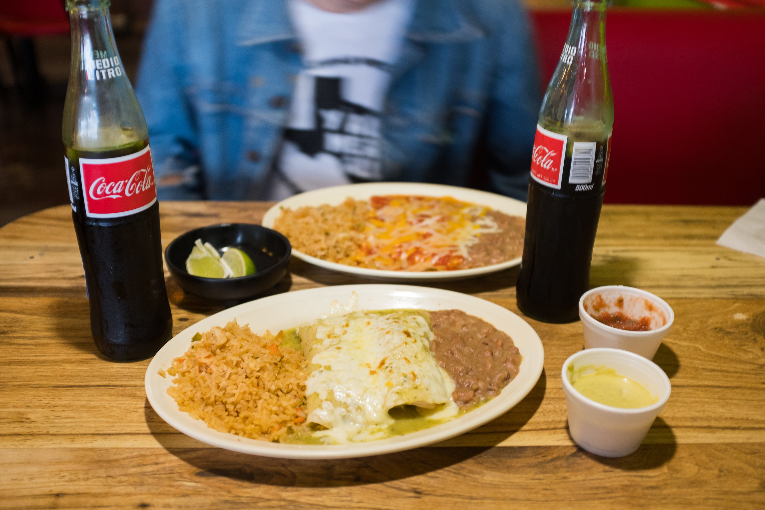 The cheese enchilada plate and chicken enchilada plate from Rosita's Al Pastor