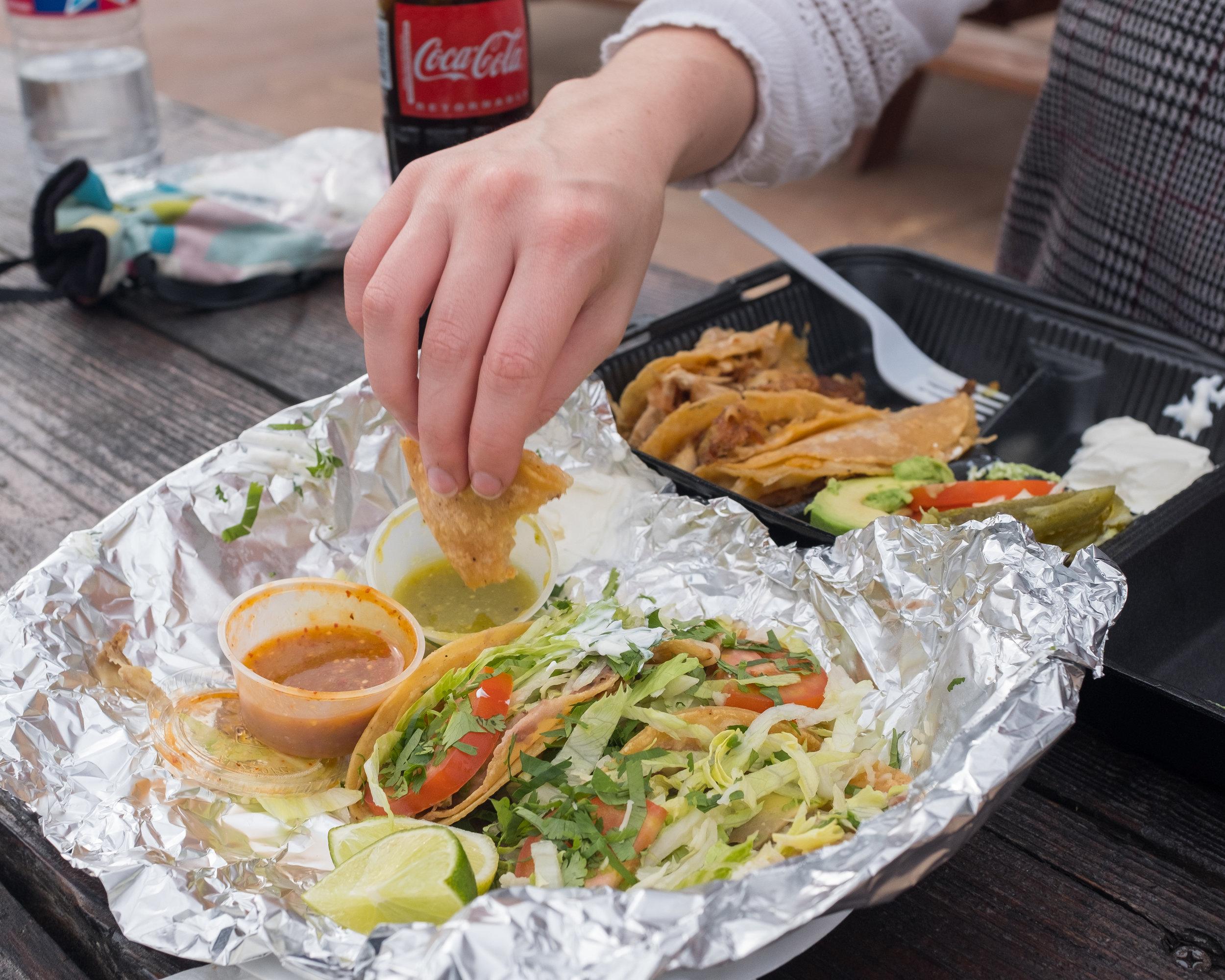 Vegetarian street tacos and a chicken quesadilla from Las Trancas