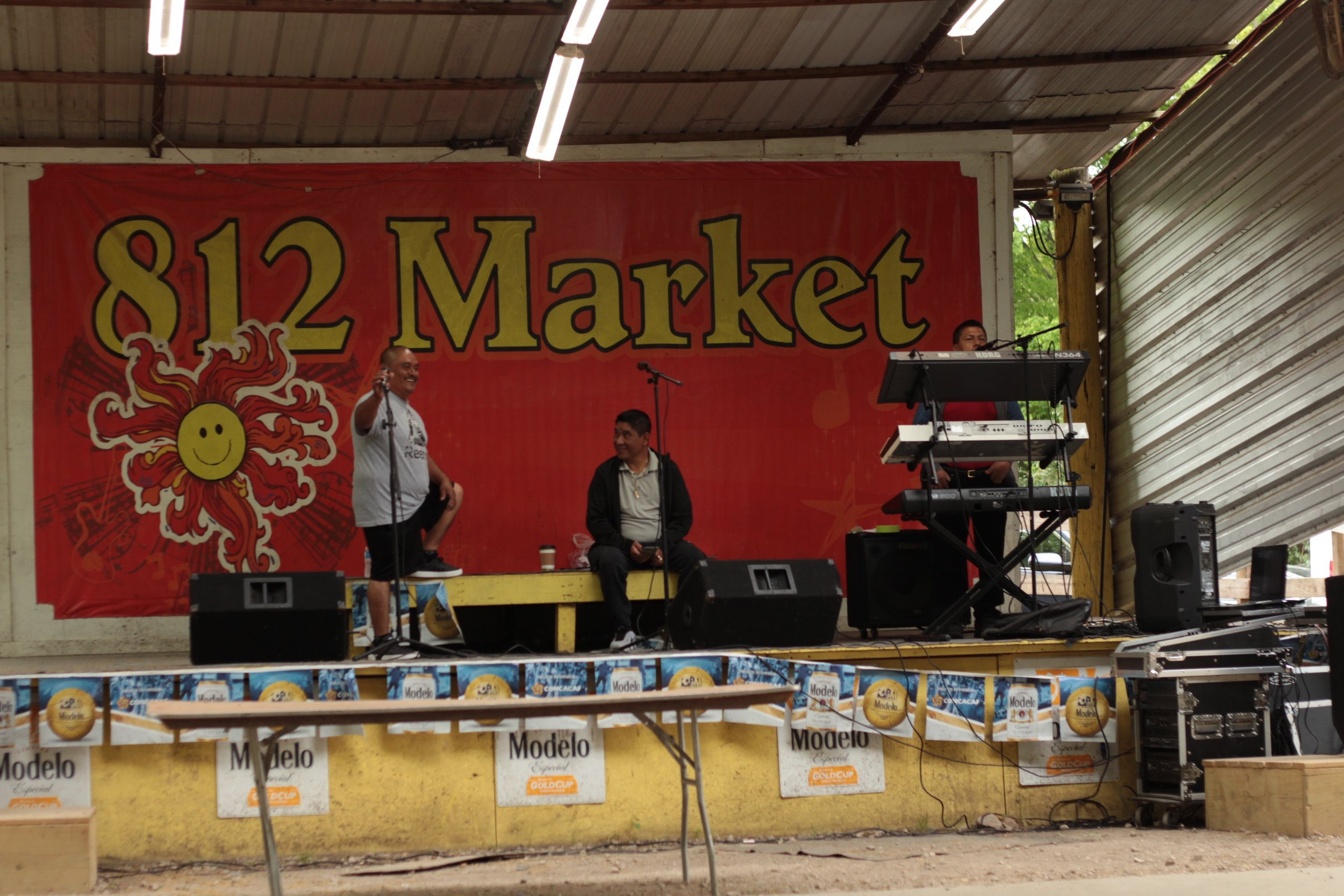 Performers at the 812 Market prepare for a live show before rush hour. Here, they play a variety of Mexican banda music that shoppers can sing along to.