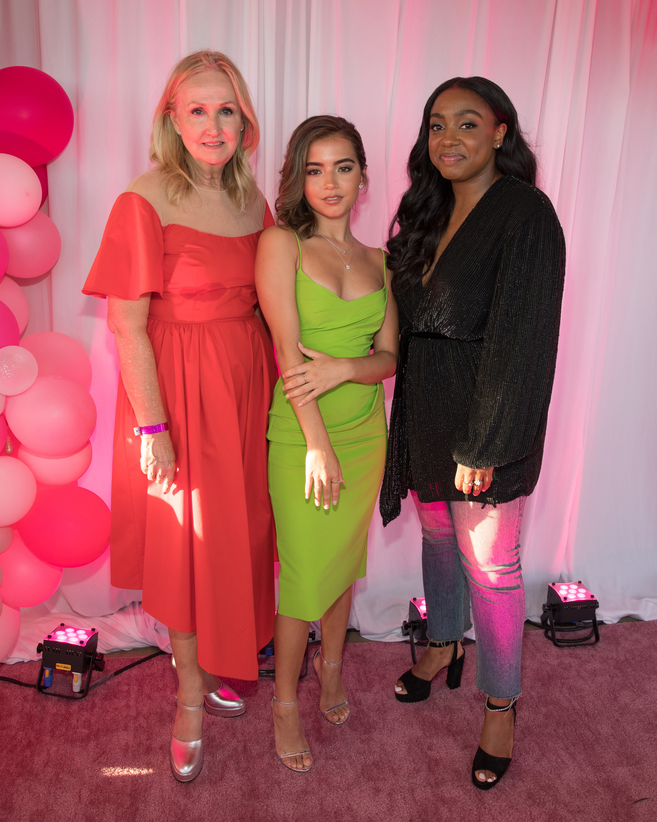 Left to right: Sally Morrison (CMO,  Lightbox Jewelry ); Isablea Moner (actress,  Instant Family ;  Dora and the Lost City of Gold ), Lindsay Peoples Wagner (editor-in-chief,  Teen Vogue )
