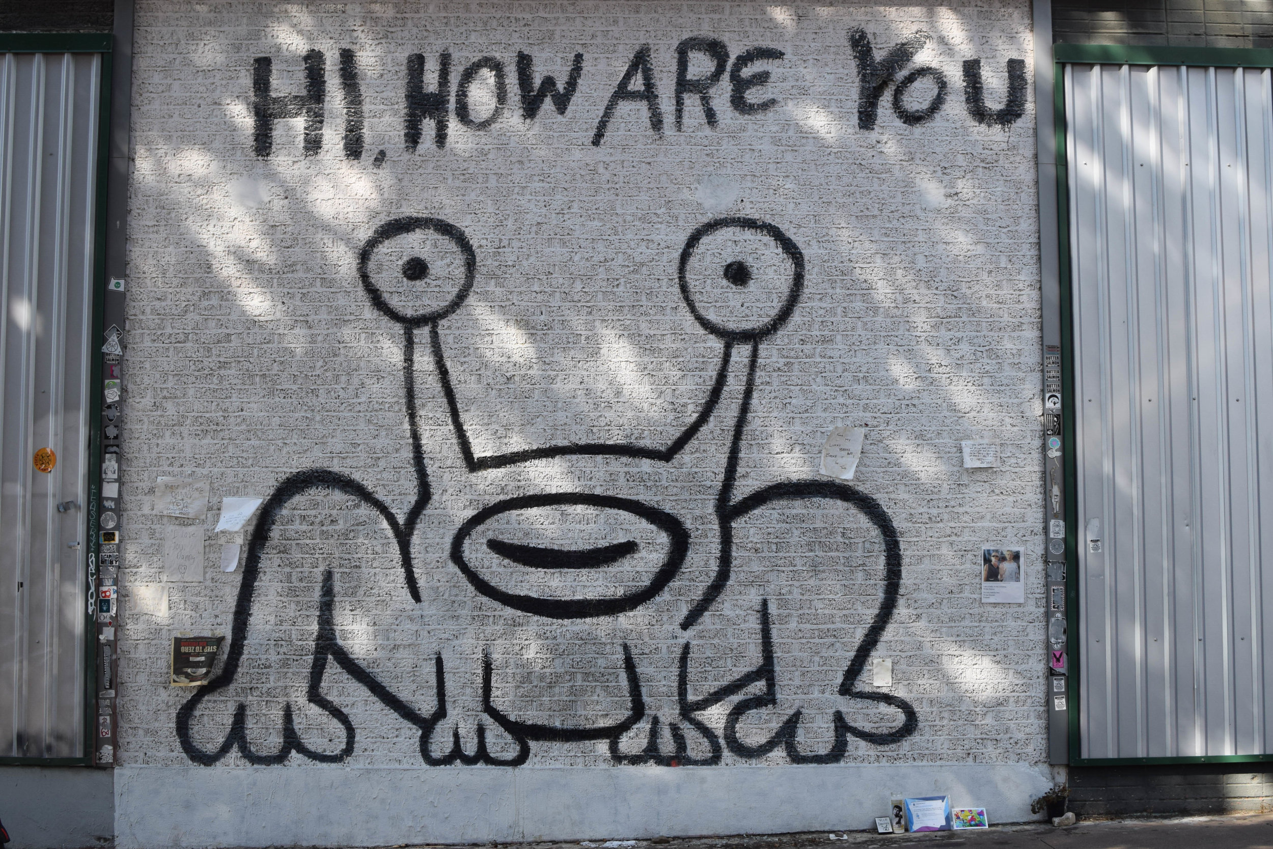 "Daniel Johnston, singer-songwriter and legendary visual artist's famous mural outside the restaurant ""Thai, How Are You"" in West Campus, Austin."